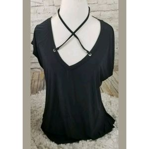 Boohoo  Blouse Cross Front Black Sz Small